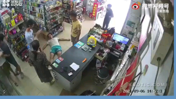 Store owner knocks out a rowdy dickhead with a baseball bat for causing a scene