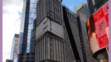 A building in Times Square stripped of advertisements