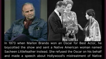 """Littlefeather attended the ceremony in Brando's place, stating that the actor """"very regretfully"""" could not accept the award, as he was protesting Hollywood's portrayal of Native Americans in film."""